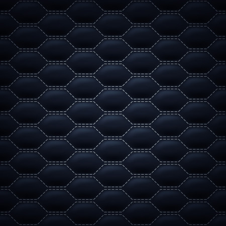 quilted fabric: Quilted carbon stitched background pattern. Black color. Upholstery vector illustration.