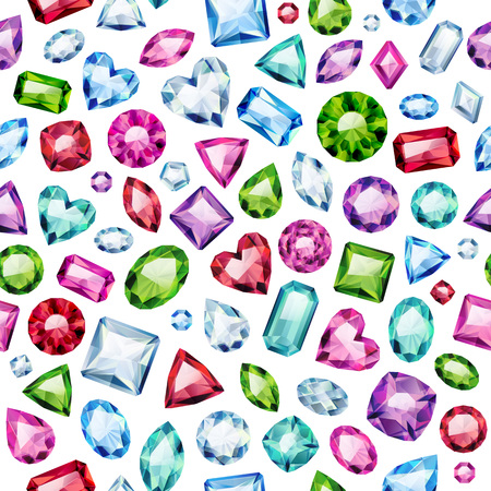Seamless colorful diamond gemstones background on white. Jewels pattern. Assorted diamonds rubies emeralds vector illustration. Good for cover card banner poster luxury design. Vettoriali