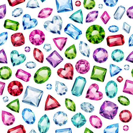 Nahtlose bunte Diamanten Edelsteine ??Hintergrund auf weiß. Juwelen Muster. Verschiedene Diamanten Rubine Smaragde Vektor-Illustration. Gut für Abdeckung Karte Banner Poster Luxus-Design.