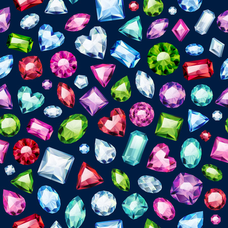 diamond jewellery: Seamless colorful diamond gemstones background on black. Jewels pattern. Assorted diamonds rubies emeralds vector illustration. Good for cover card banner poster luxury design.
