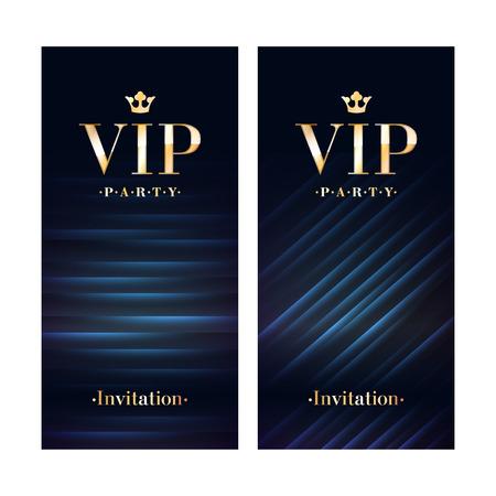 Club VIP Party flyer affiche de carte d'invitation de la prime. modèle de conception noir et or. Paillettes et des lignes diagonales vecteur modèle décoratif fond. Vecteurs
