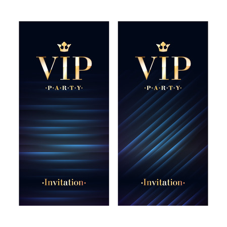 VIP club party premium invitation card poster flyer. Black and golden design template. Sequins and diagonal lines pattern decorative vector background. Stock Illustratie