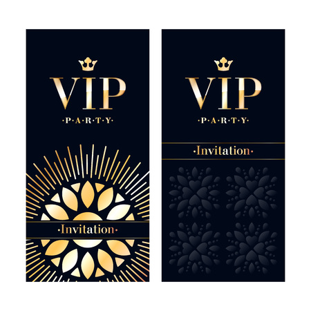 party club: VIP club party premium invitation card poster flyer. Black and golden design template. Floral decorative vector background.