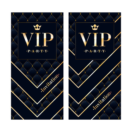 quilted: VIP club party premium invitation card poster flyer. Black and golden design template. Quilted pattern decorative vector background.