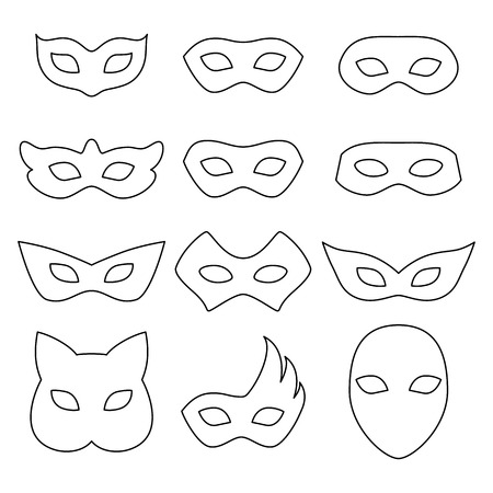 masquerade masks: Blank carnival assorted masks icons templates set illustration. Party masquerade symbol. Black color, outline style.