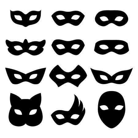 masquerade masks: Blank carnival assorted masks icons templates set illustration. Party masquerade symbol. Black color, flat style.