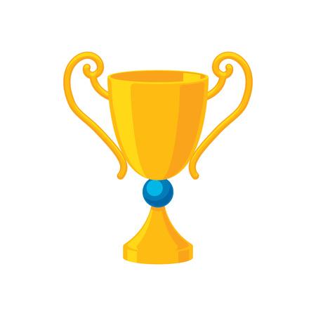 league: Sport trophy golden cup icon vector illustration. Winner champion award prize symbol.