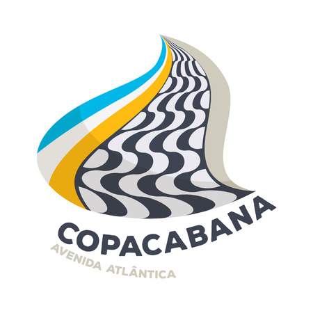Copacabana beach graphic symbol vector illustration. Curve shape design. Good for cover invitation flyer greeting card design.