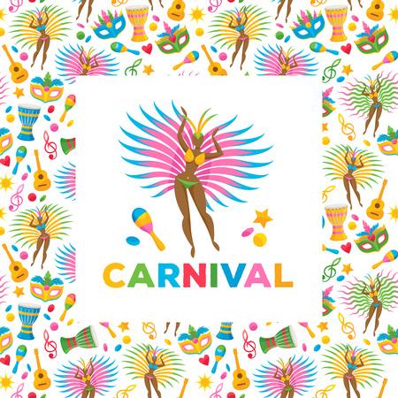 Brazilian carnival background colorful vector illustration. Brazil symbols icons pattern. Guitar drum samba dancer carnival mask confetti texture. Good for cover invitation flyer greeting card design.