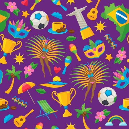 Brazilian icons symbols seamless pattern vector illustration background. Map flag football samba dancer beach cup jesus brazil flower carnival mask maracas colorful design. Vector Illustration