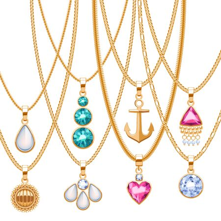 555e95262 Conjunto De Cadenas De Oro Con Diferentes Colgantes. Collares ...