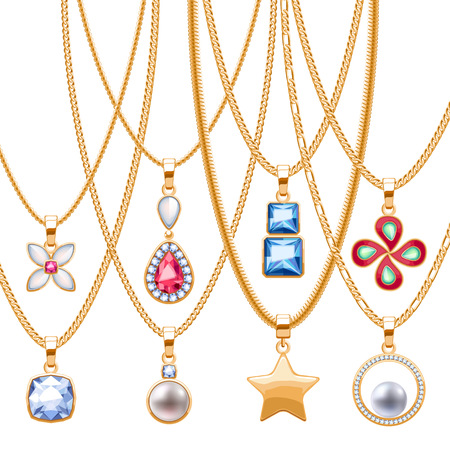 necklaces: Set of golden chains with different pendants. Precious necklaces. Golden pendants with gemstones pearls. Ruby diamond pendants design vector illustration.