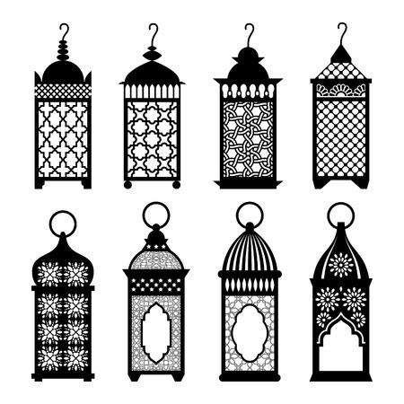 Oost-Arabische lantaarns set illustratie. Goed voor Ramadan Kareem groeten design. Ramadan lantaarn symbolen.