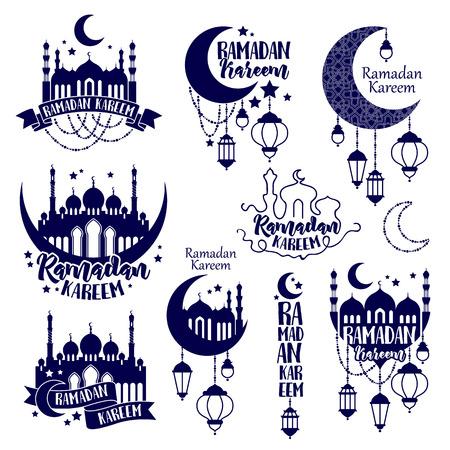 斋月的标志标签。斋月卡里姆穆斯林节日庆典。斋月贺卡海报设计。斋月徽章插图。月亮清真寺和灯笼。