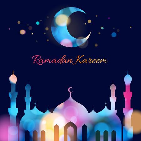 arabian: Ramadan kareem. Ramadan background colorful design illustration. Ramadan greeting card poster backdrop. Beautiful glow light with mosque and minarets silhouette.