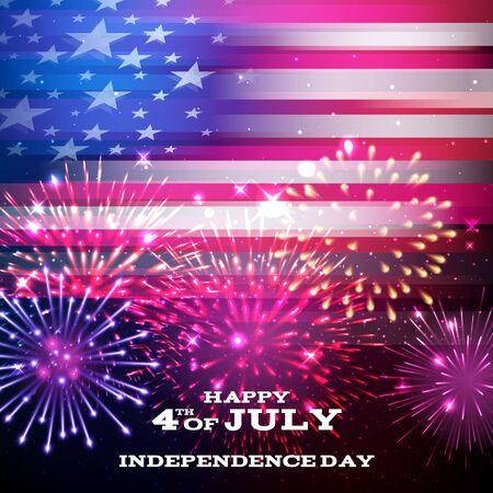 national: 4 º independencia de julio día diseño fondo. documento nacional de EE.UU. bandera día de fiesta felicitación de cartel. Barras y estrellas de la bandera americana con la ilustración de los fuegos artificiales del vector.