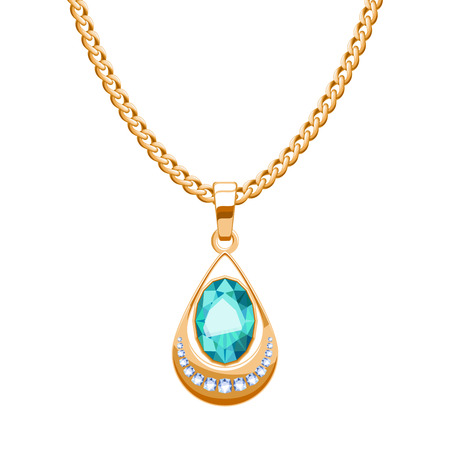 Golden chain necklace with diamonds and emerald pendant drop shape. Jewelry vector illustration design.