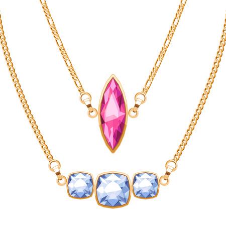 collares de cadena de oro fijados con rubí y diamantes colgantes de piedras preciosas. vector de ilustración, diseño de joyería.