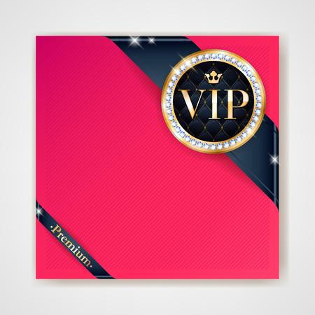 Club VIP Party flyer affiche de carte d'invitation de la prime. modèle de conception noir et rouge. rubans d'or avec l'étiquette de cachet rond vecteur décoratif fond.