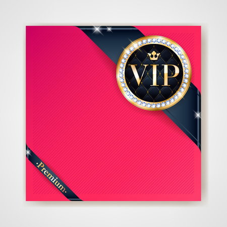 golden ribbons: VIP club party premium invitation card poster flyer. Black and red design template. Golden ribbons with round stamp label decorative vector background. Illustration