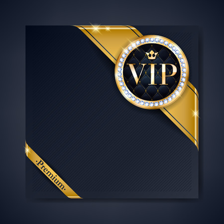 diamond: VIP club party premium invitation card poster flyer. Black and golden design template. Golden ribbons with round stamp label decorative vector background. Illustration