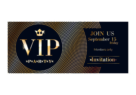 premium member: VIP club party premium invitation card poster flyer. Black and golden design template. Sequins and circles pattern decorative vector background.
