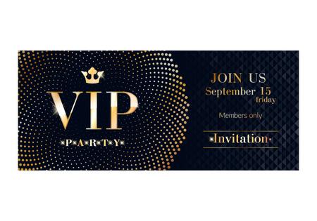 letras de oro: aviador cartel tarjeta de invitación prima partido del club VIP. plantilla de diseño y negro de oro. Lentejuelas y círculos de fondo patrón decorativo del vector.