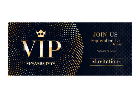 passes: VIP club party premium invitation card poster flyer. Black and golden design template. Sequins and circles pattern decorative vector background.