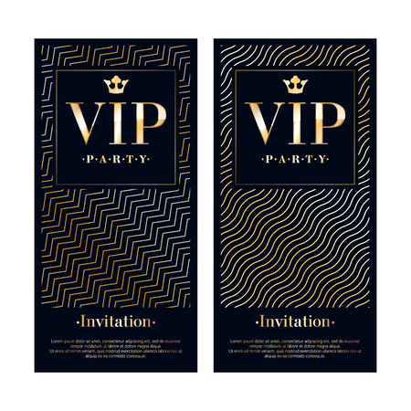 party club: VIP club party premium invitation card poster flyer. Black and golden design template. Waves pattern decorative vector background.