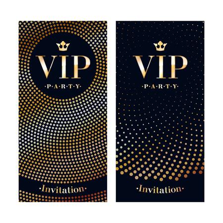 VIP クラブ パーティー プレミアム招待状カード ポスター チラシ。黒と金のデザイン テンプレートです。スパンコールやサークルは、装飾的なベク