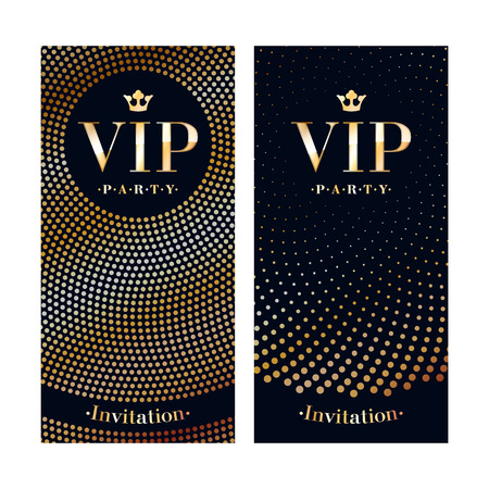 VIP 클럽 파티 프리미엄 초대 카드 포스터 전단지. 검은 황금 디자인 서식 파일입니다. 스팽글과 원 패턴 장식 벡터 배경입니다. 일러스트