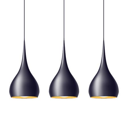Pendant lamp światła ustawić ilustracji wektorowych. Home dekoracji wnętrz.
