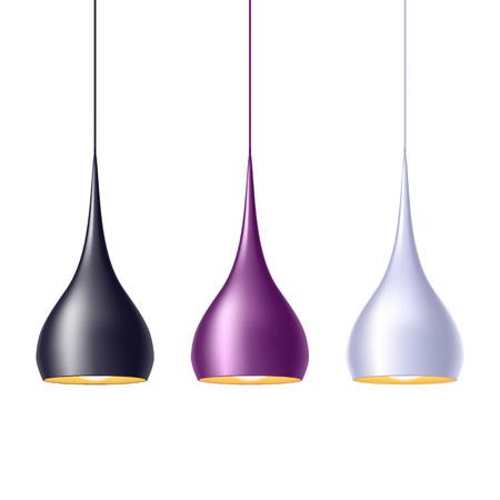 lampada: lampade a luce a sospensione impostare illustrazione vettoriale. Casa tra decorazione.