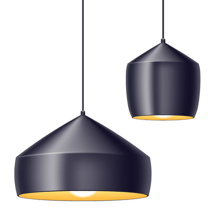 Pendant light lamps set vector illustration. Home interior decoration. Illustration