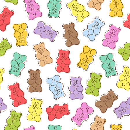 gummie: Seamless colorful gummy bears candies background. Hand drawn sweets vector pattern.