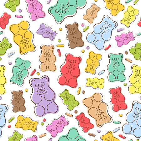 Seamless colorful gummy bears candies background. Hand drawn sweets vector pattern.
