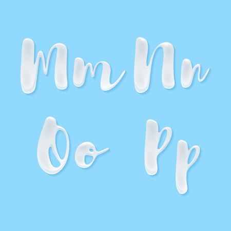 Milk, yogurt or cream abc letters set. White smudges splashes alphabet on blue background vector illustration. Good for poster banner advertising packaging design.