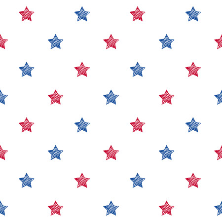national holiday: Colorful blue red and white stars seamless background. USA American flag colors pattern. National day holiday poster greeting card banner backdrop wrapping paper template.