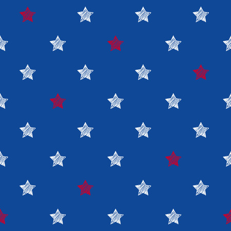 Colorful blue red and white stars seamless background. USA American flag colors pattern. National day holiday poster greeting card banner backdrop wrapping paper template.