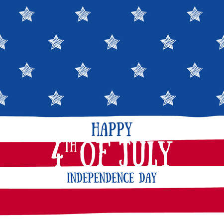national holiday: 4th July Independence day background design. National day USA holiday banner poster greeting card. Stars and stripes american flag vector illustration. Hand drawn texture. Illustration