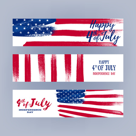 national: Forth July Independence day banners set design. National day USA holiday poster greeting card. Stars and stripes american flag vector illustration. Paint hand drawn texture.