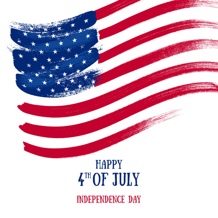 4th July Independence day background design. National day USA holiday banner poster greeting card. Stars and stripes american flag vector illustration. Paint hand drawn texture.