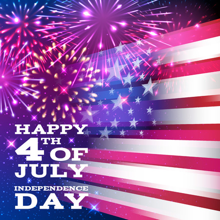 national holiday: 4th July Independence day background design. National day USA holiday banner poster greeting card. Stars and stripes american flag with fireworks vector illustration.