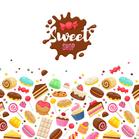 chocolate splash: Assorted sweets colorful background with chocolate splash drop blot. Lollipops, cake, macarons, chocolate bar, candies and donut. Good for poster cover menu card confectionery pastry-shop design.