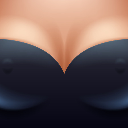 breast implant: Beautiful woman breast boobs with decollete in black clothes background vector illustration. Female girl tits closeup with nipples. Good for sex shop erotic cover flyer poster design for adults. Illustration