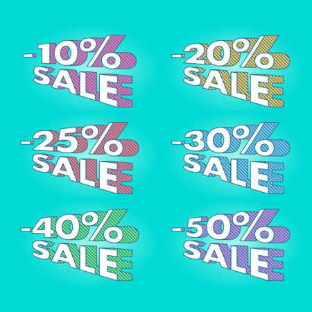 old school: Old school retro 80th sale discount labels set vector illustration. Good for ad, catalog, web design.