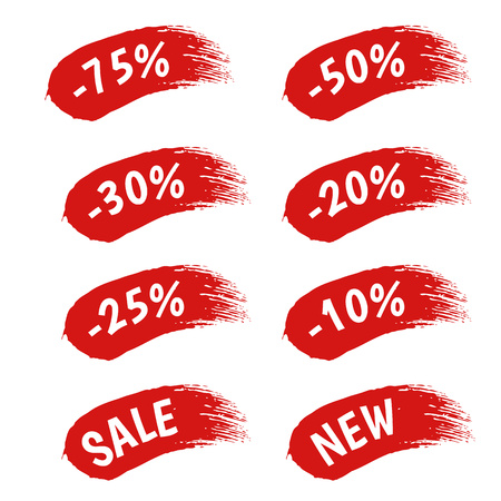 25 to 30: Red paint sale discount labels set vector illustration. Paintbrush strokes stickers - good for ad, catalog, web design.