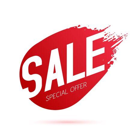 Red paint sale discount label vector illustration. Paintbrush stroke sticker - good for ad, catalog, web design.