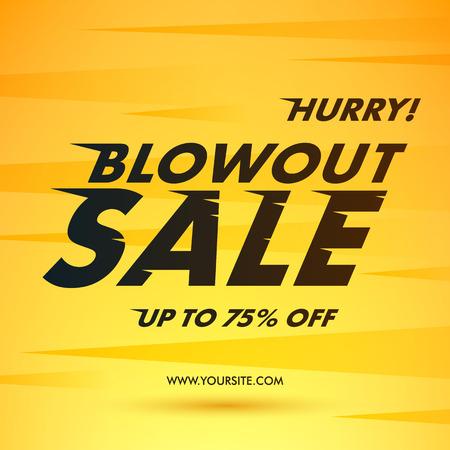 Blowout Offre de vente affiche bannière illustration vectorielle. Dinamic texte effet du vent lettres rapides sur fond jaune.