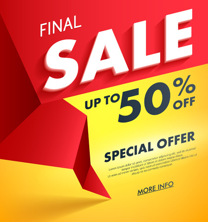final: Final Sale offer poster banner vector illustration. Volume 3D letters on red and yellow abstract background.